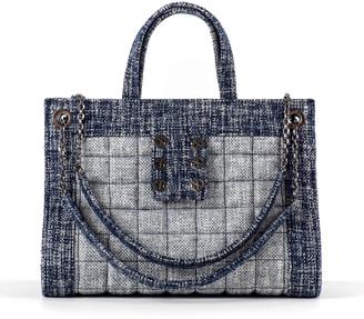Kooreloo Tweed Shopper Tote Bag w/ Sliding Chain Strap