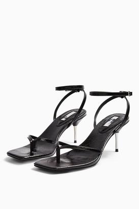 Topshop Womens Radiant Black Mid Metal Heels - Black