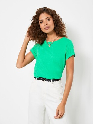 Mint Velvet Cotton Star T-Shirt - Green