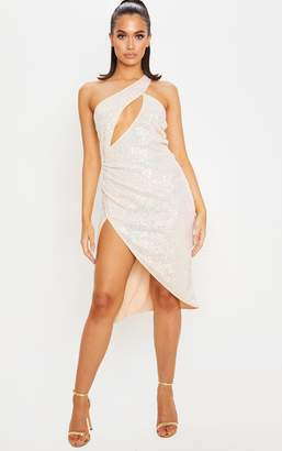 PrettyLittleThing Nude Iridescent Sequin Asymmetric Cut Out Bandeau Midi Dress