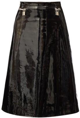 Christopher Kane Padlock Flared Vinyl Skirt - Black