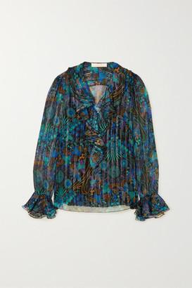 See by Chloe Ruffled Metallic Floral-print Silk-blend Georgette Blouse - Black