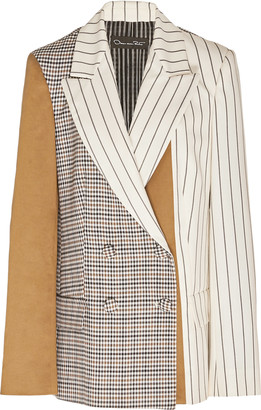 Oscar de la Renta Paneled Double-Breasted Silk Blazer