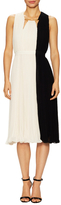 Halston Arch Ring Neck Colorblocked Flare Dress
