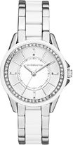 Liz Claiborne Womens Silver-Tone & White Crystal-Accent Watch