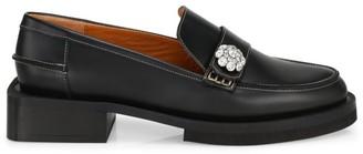 Ganni Jewel-Embellished Leather Loafers