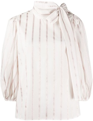 RED Valentino Striped Pussy Bow Blouse