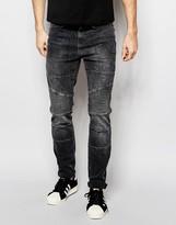 Pull&bear Biker Skinny Jeans In Grey