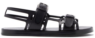 Burberry Caged Leather Sandals - Black