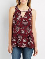 Charlotte Russe Floral Keyhole Tank Top