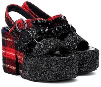 Simone Rocha Embellished tartan plateau sandals