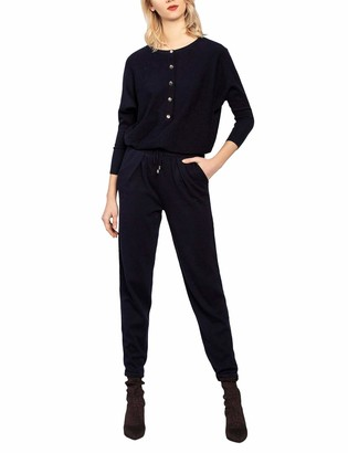 APART Fashion Women's Knitted Overall Jumpsuit Blue Midnightblue 14 (Size: 40)