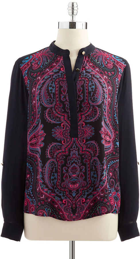 Adrianna Papell Multi Print Henley Shirt