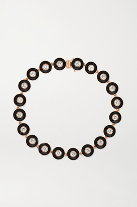 Selim Mouzannar Mina 18-karat Rose Gold, Enamel And Diamond Bracelet - one size