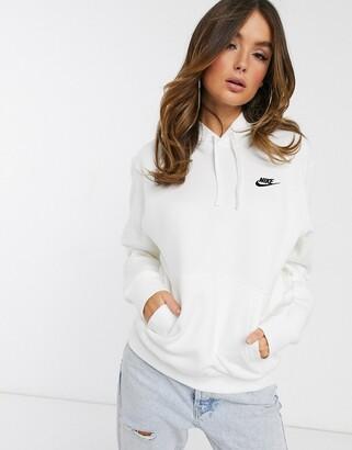 Nike white oversized Club hoodie