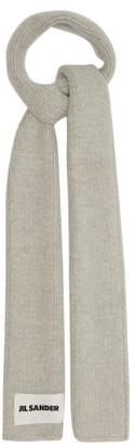 Jil Sander Logo-label Wool-blend Scarf - Grey