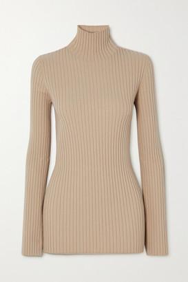 MM6 MAISON MARGIELA Ribbed-knit Turtleneck Sweater - Beige