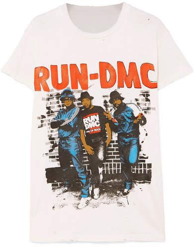 MadeWorn Run-dmc Distressed Printed Cotton-jersey T-shirt - Off-white