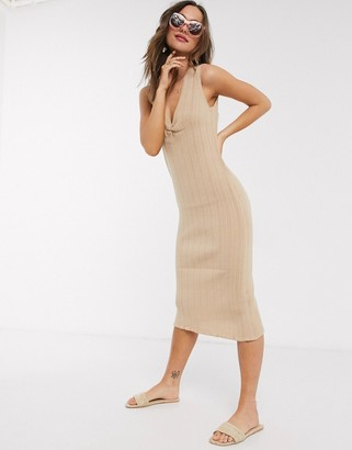 Asos Design DESIGN ruched front knitted midi dress