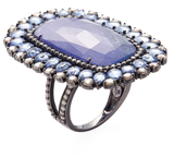 Rina Limor Fine Jewelry 18K White Gold, Tanzanite, Blue Sapphire & 2.41 Total Ct. Diamond Cocktail Ring