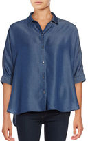 Imnyc Isaac Mizrahi Dark Wash Tencel Dolman Sleeve Shirt