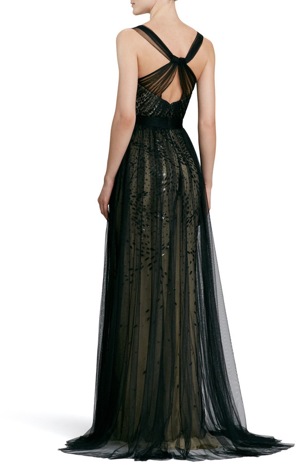 Monique Lhuillier Bustier Overlay Gown