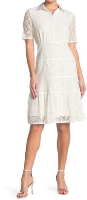 Nanette Lepore Short Sleeve Lace Dress