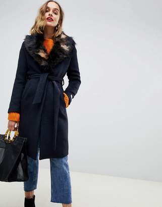Gianni Feraud duster coat with faux fur collar-Navy