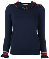 Gucci lurex ruffle trim jumper - women - Polyamide/Polyester/Wool/Metallic Fibre - M