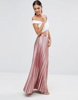 TFNC Foiled Pleated Maxi Skirt