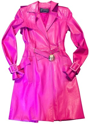 Versace Pink Leather Trench Coat for Women