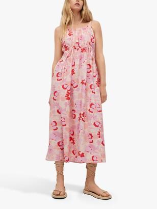 MANGO Flowy Abstract Floral Print Midi Dress, Multi
