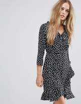 Vero Moda Printed Wrap Dress With Frill Detail