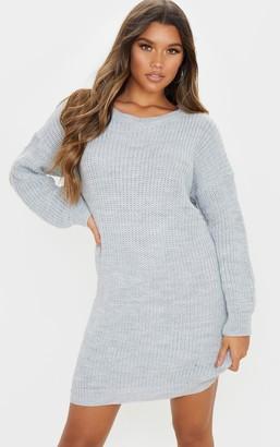 Mega Grey Basic Knit Jumper Dress