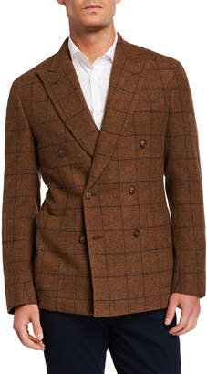 Caruso Men's Windowpane Wool Double-Breasted Jacket