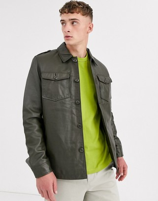 ASOS DESIGN leather quilted overshirt in khaki