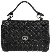 Valentino Large Spike Crackle Leather Shoulder Bag