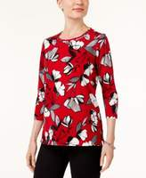 Alfred Dunner Talk of The Town Petite Embellished Floral-Print Top