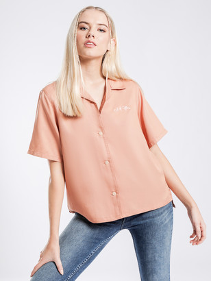 Nudie Jeans Bea Bowling Shirt in Apricot