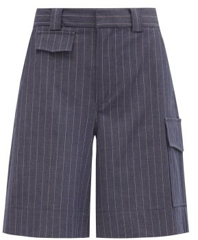 Ganni High-rise Pinstriped Shorts - Grey Navy