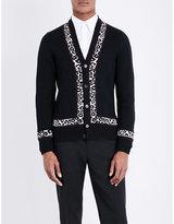 Alexander Mcqueen Leopard-trim Wool-blend Cardigan