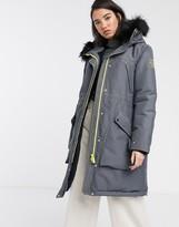 Hunter oversized waterproof parka with faux fur hood trim and fleece lining
