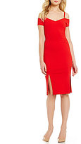 Jessica Simpson Sweetheart Neck Midi Cold Shoulder Dress