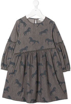 Stella Mccartney Kids Horse-Print Cotton Dress