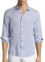 Orlebar Brown Morton Long-Sleeve Linen Shirt, Navy