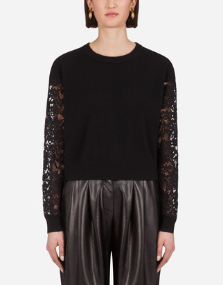 Dolce & Gabbana Cashmere Sweater With Lace Sleeves