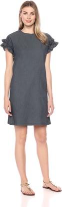 London Times Women's Ruffle Sleeve Drop Shoulder Denim Shift Dress 8
