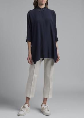 Agnona Drapey Silk Button-Down Shirt
