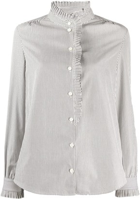 Frame Long Sleeve Striped Print Shirt