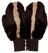 Glamour Puss Glamourpuss Leather-Trimmed Fur Mittens w/ Tags